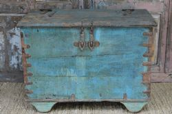 Tribal Dowry Chest on wheels with faded blue paint  <b>SOLD<b>